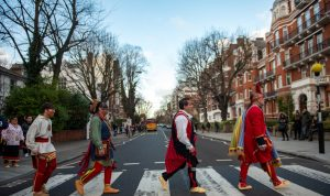 Eastern Band of Cherokee Indians members recreate the Abbey Road EP Cover