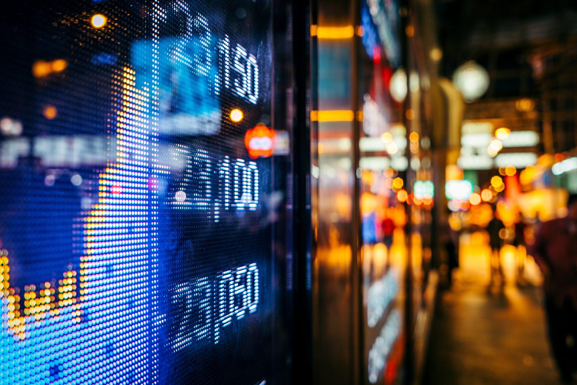 Screen with finance statistics