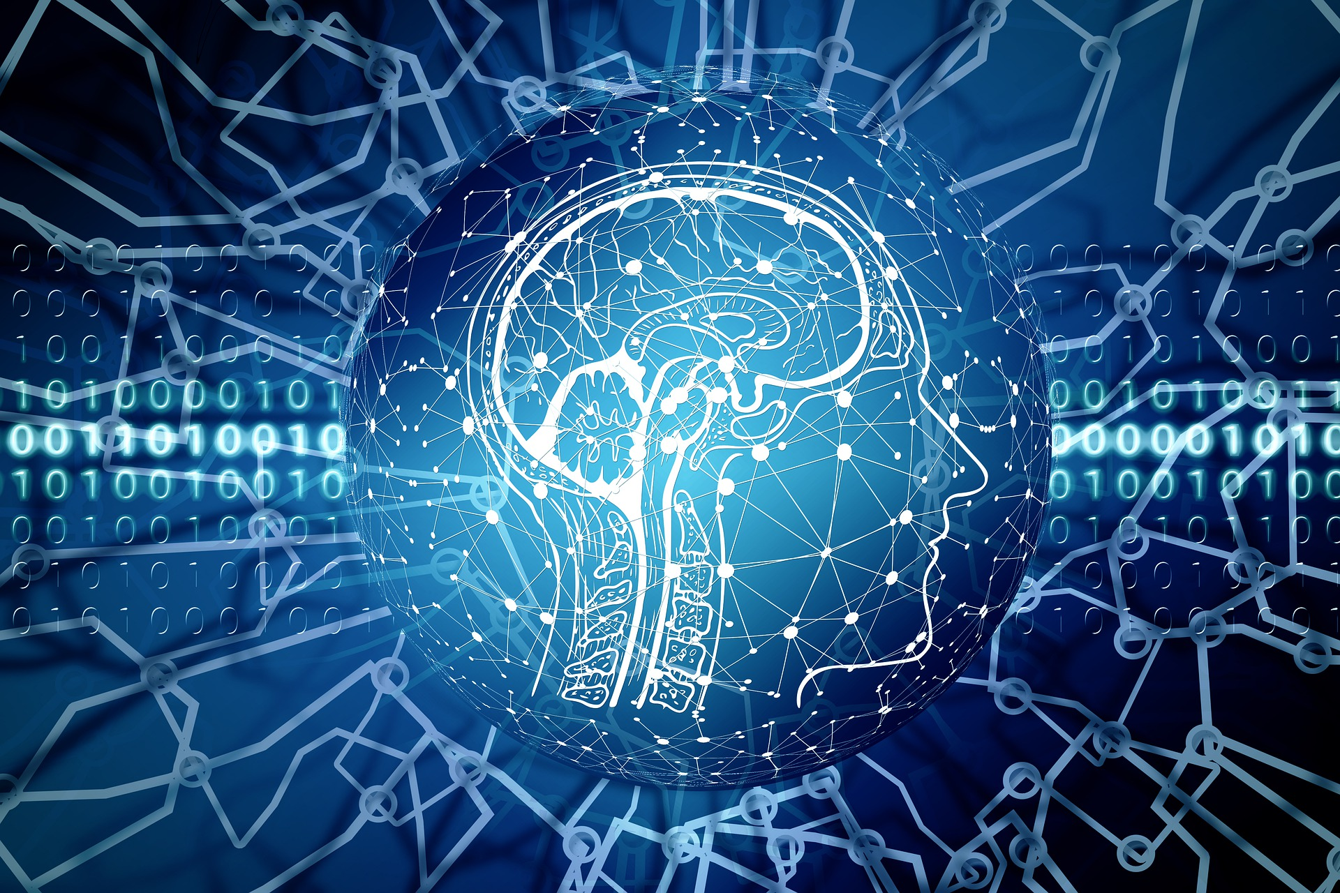 abstract image of a human head with interconnections and binary background representing artificial intelligence