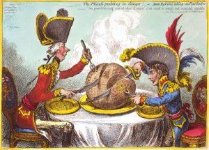 Cartoon of Napoleon Bonaparte and William Pitt dividing the globe