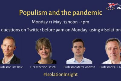 'Populism and the Pandemic' virtual event with Prof Matthew Goodwin – 11 May, 12pm