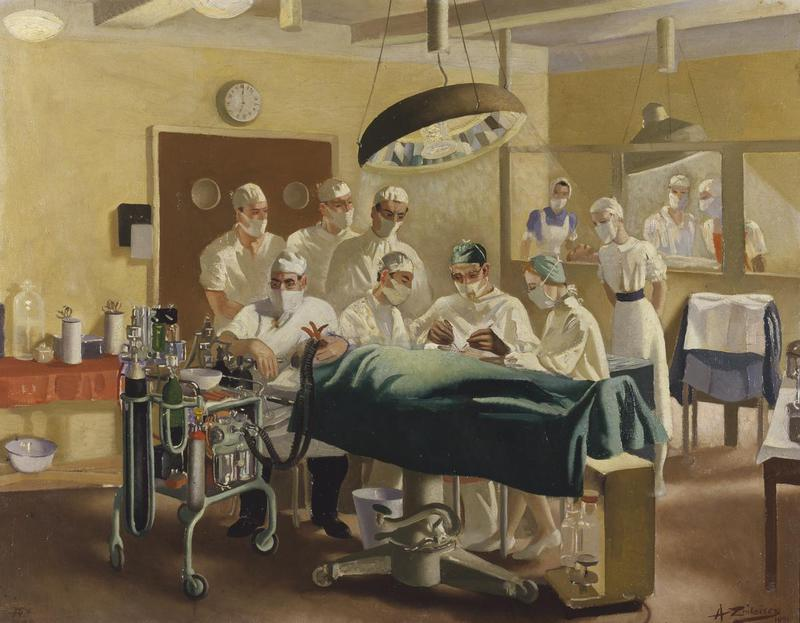 Watercolour image of hospital operating theatre