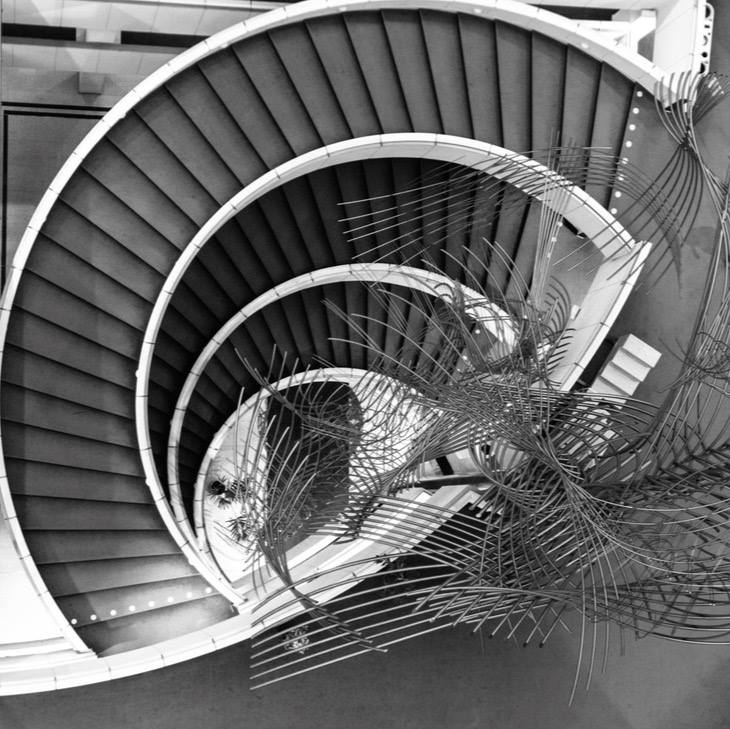 Three flights of circular staircases