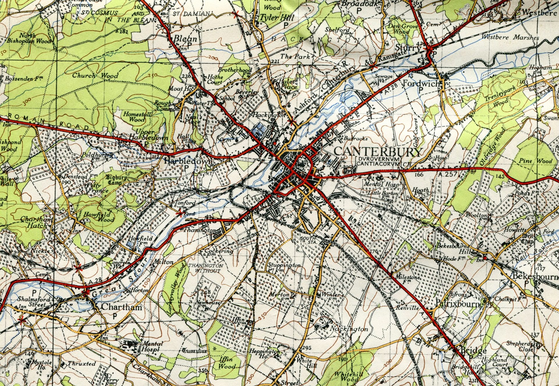 Map of Canterbury Orchards in 1945