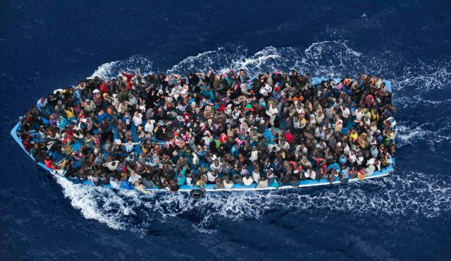 A boat full of immigrants