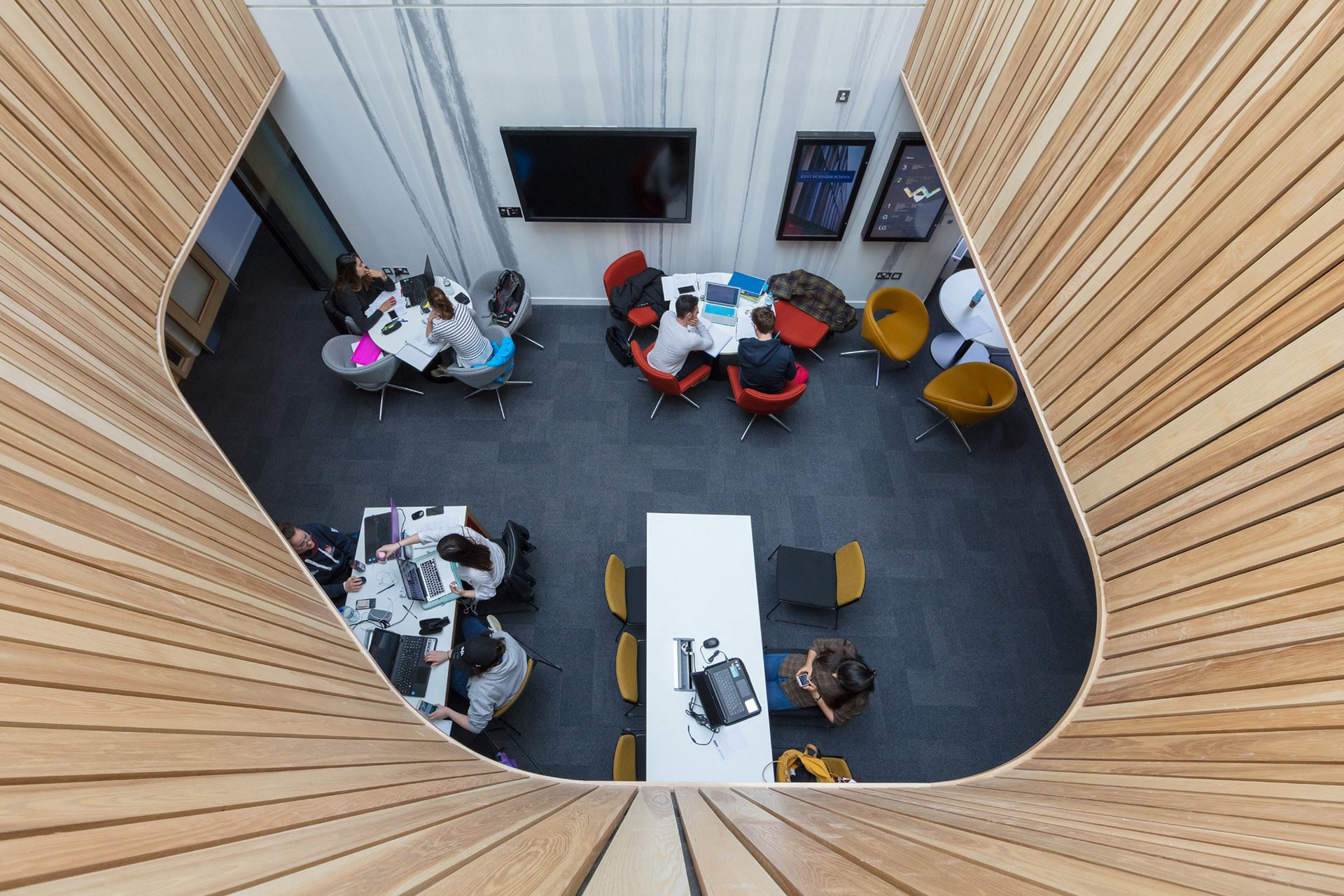 View looking down on tables in Sibson Building