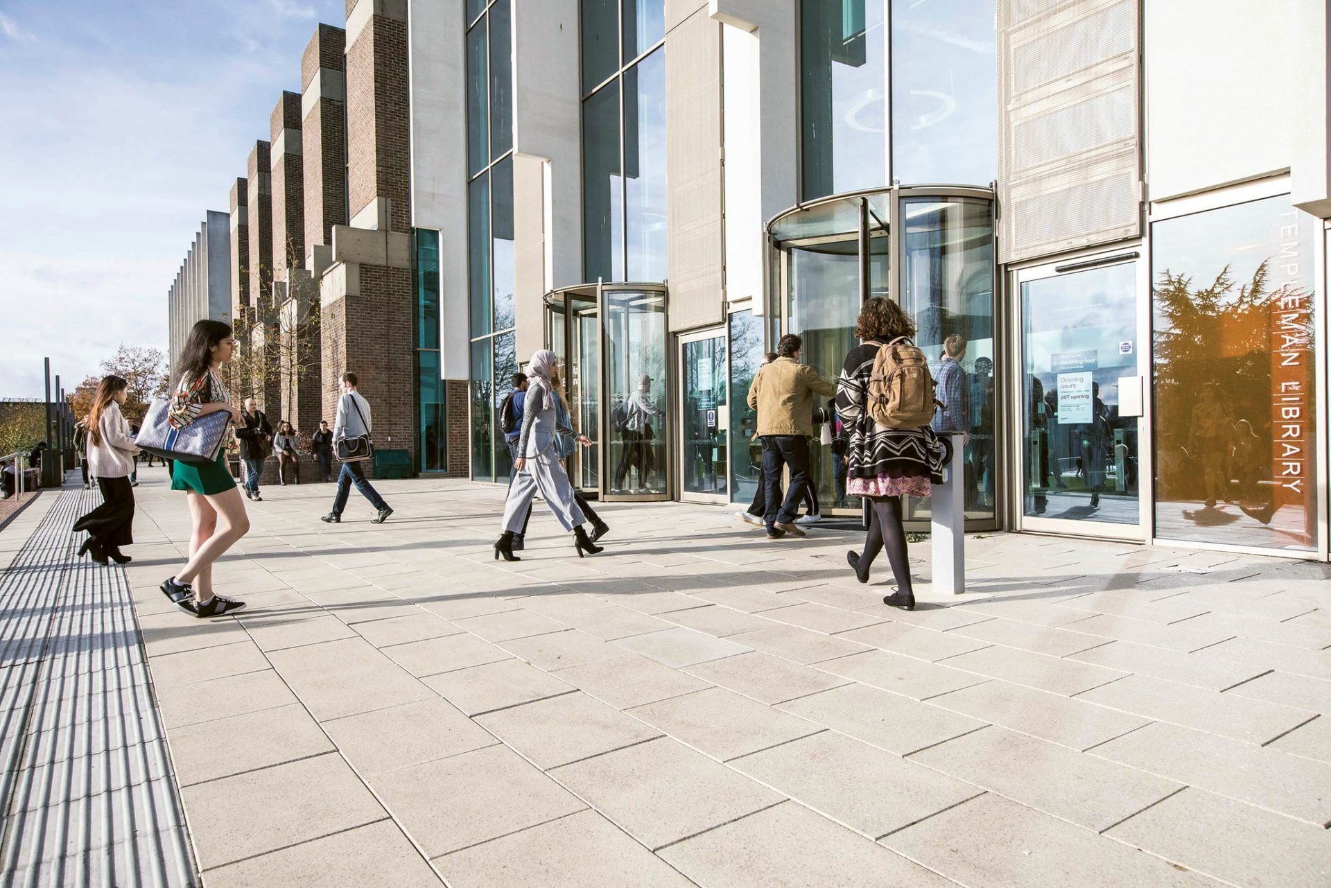 The entrance to the Templeman library