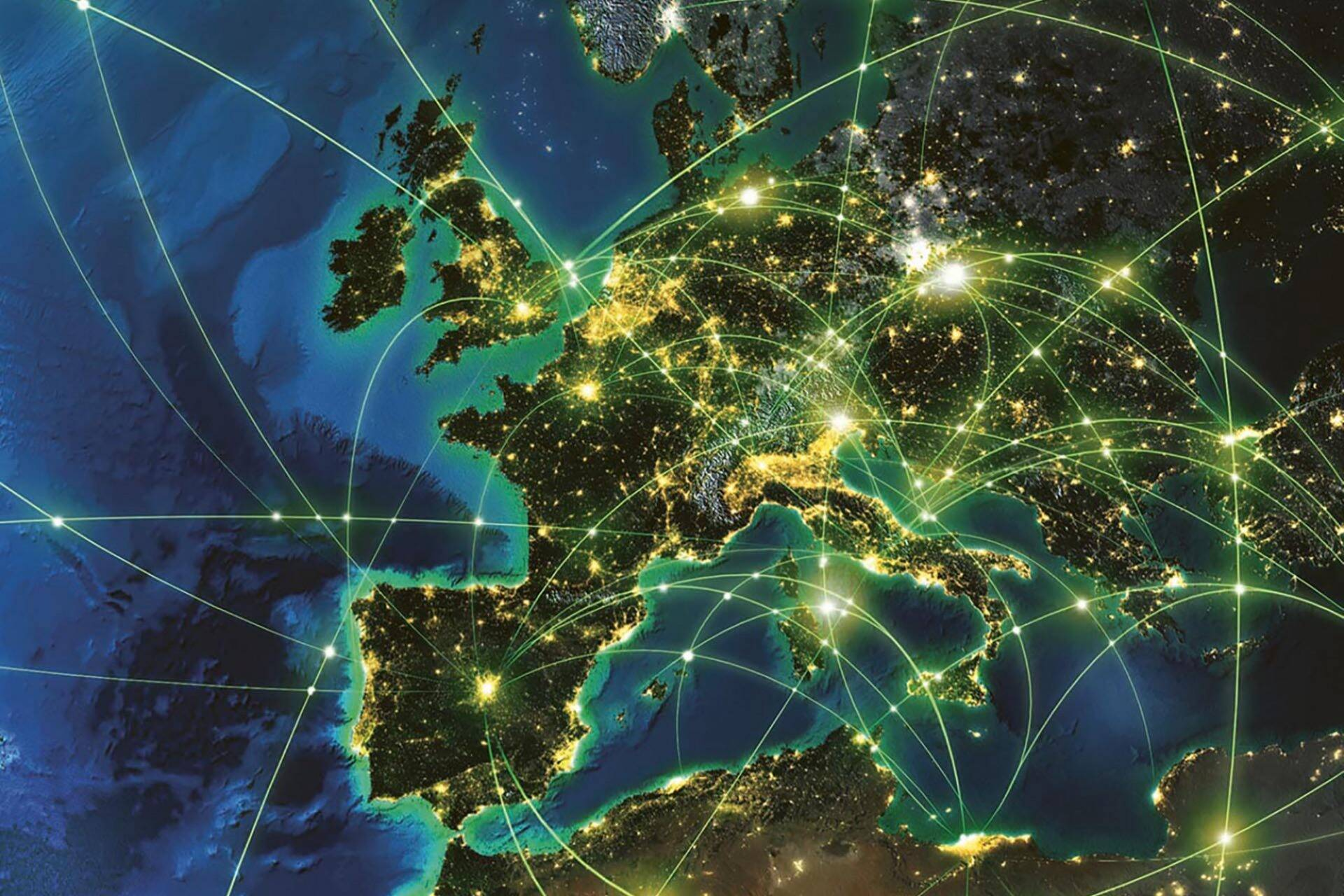 Map of Europe showing digital connections